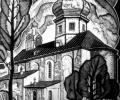 Klikushin G. The Annunciation Church, 1962, linocut, 39х22 cm