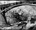 Klikushin G. Kirov Bridge, 1960, linocut, 31x39 cm