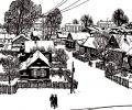 Klikushin G. Winter, First Snow, 1960, 45х39 cm