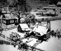 Klikushin G., Winter in Luchosa, 1964, linocut, 45х60 cm