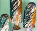 Ковальчук В., Ковальчук Л. Порыв ветра, 2002, комплект декоративных ваз : декор, композиция, шамот, глазури