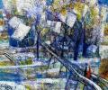 Шапо У. Мосцік на Палаце, 2012, акрыл, ляўкас, кардон, 45х40 см