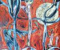 Voronova L. Beast and Bird, 1993, cardboard, pastel, 50x60 сm